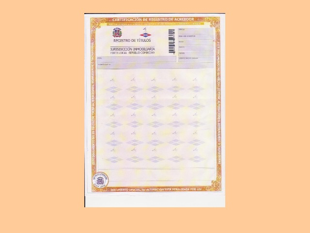 Creditors Registration Certificate
